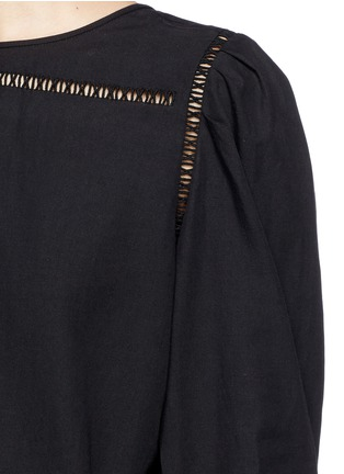 Detail View - Click To Enlarge - Isabel Marant - Ladder stitch insert cotton-linen top
