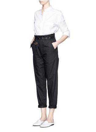 Figure View - Click To Enlarge - Isabel Marant - Metal grommet belt cropped pants