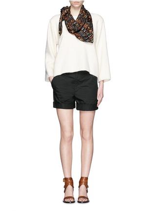 Figure View - Click To Enlarge - Isabel Marant - Oversize alpaca frayed sweatshirt