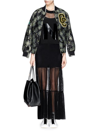 Detail View - Click To Enlarge - NICOPANDA - Glossy logo tiered mesh maxi dress
