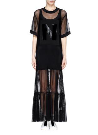 Main View - Click To Enlarge - NICOPANDA - Glossy logo tiered mesh maxi dress
