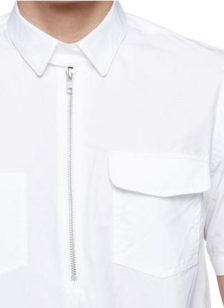Detail View - Click To Enlarge - Sacai - Zip placket cotton poplin shirt