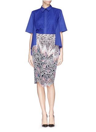 Figure View - Click To Enlarge - Peter Pilotto - 'Vector' floral appliqué silk pencil skirt