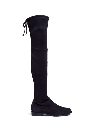 Main View - Click To Enlarge - Stuart Weitzman - 'Lowland' knee high stretch suede boots