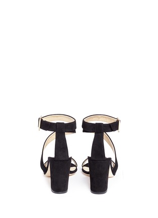 Back View - Click To Enlarge - ALEXANDER WHITE - 'Demi' asymmetric strap suede sandals