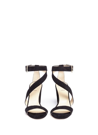 Front View - Click To Enlarge - ALEXANDER WHITE - 'Demi' asymmetric strap suede sandals