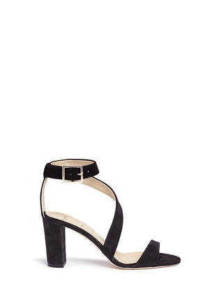 Main View - Click To Enlarge - ALEXANDER WHITE - 'Demi' asymmetric strap suede sandals
