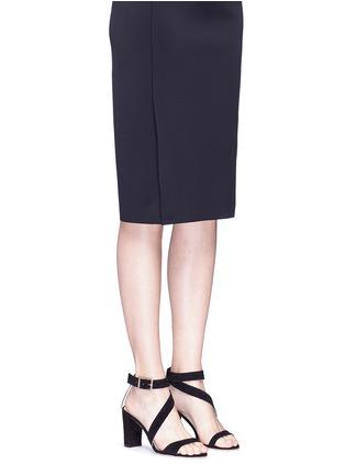 Figure View - Click To Enlarge - ALEXANDER WHITE - 'Demi' asymmetric strap suede sandals