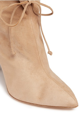 Detail View - Click To Enlarge - Alexander White - 'Camille' wraparound ankle tie suede boots