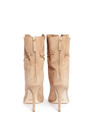 Back View - Click To Enlarge - Alexander White - 'Camille' wraparound ankle tie suede boots