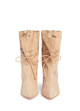 Front View - Click To Enlarge - Alexander White - 'Camille' wraparound ankle tie suede boots