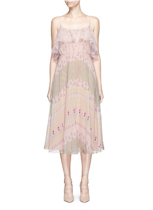 Main View - Click To Enlarge - Valentino - Geometric tribal print silk chiffon dress