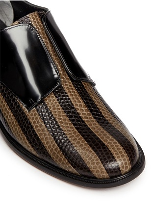 Detail View - Click To Enlarge - CLERGERIE - 'Jaml' stripe croc effect leather laceless derbies
