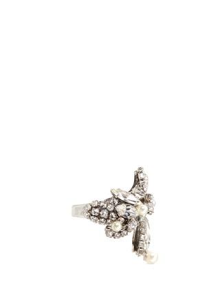 Figure View - Click To Enlarge - ERICKSON BEAMON - 'Limelight' Swarovski crystal pavé glass pearl ring