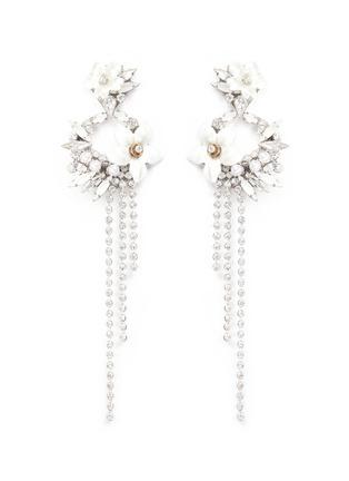 Main View - Click To Enlarge - Erickson Beamon - 'Winter Wonderland' fringed floral hoop Swarovski crystal earrings