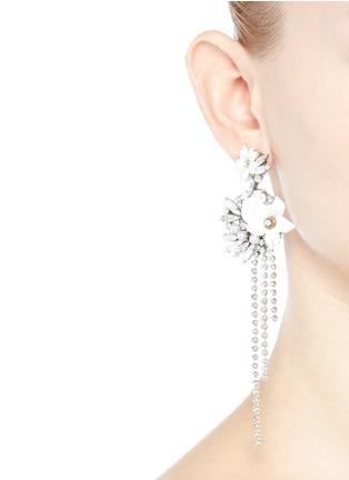 Figure View - Click To Enlarge - Erickson Beamon - 'Winter Wonderland' fringed floral hoop Swarovski crystal earrings