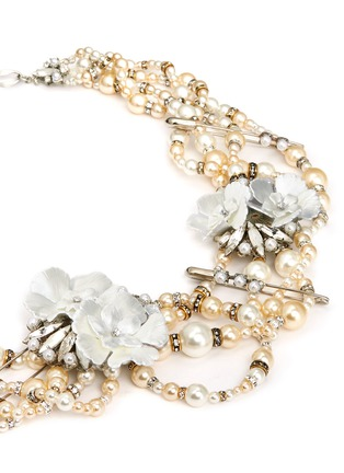 Detail View - Click To Enlarge - Erickson Beamon - 'Winter Wonderland' Swarovski crystal glass pearl floral statement necklace