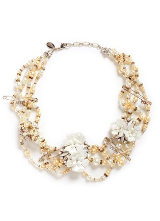 Main View - Click To Enlarge - Erickson Beamon - 'Winter Wonderland' Swarovski crystal glass pearl floral statement necklace