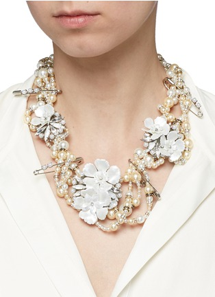 Figure View - Click To Enlarge - Erickson Beamon - 'Winter Wonderland' Swarovski crystal glass pearl floral statement necklace