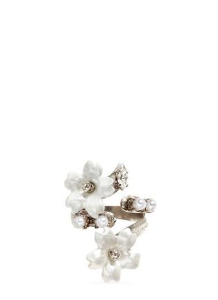 Main View - Click To Enlarge - Erickson Beamon - 'Winter Wonderland' Swarovski crystal pearl floral ring