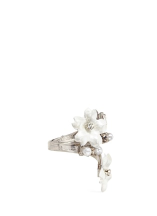 Figure View - Click To Enlarge - Erickson Beamon - 'Winter Wonderland' Swarovski crystal pearl floral ring
