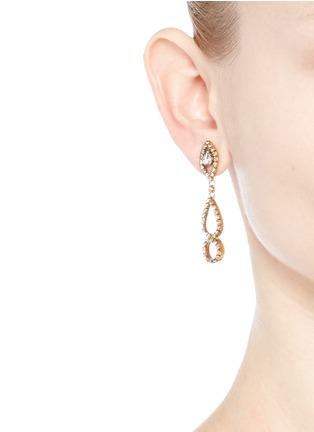 Figure View - Click To Enlarge - Erickson Beamon - 'Princess' Swarovski crystal geometric cutout drop earrings
