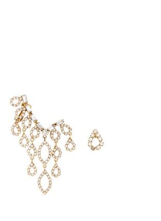 Main View - Click To Enlarge - Erickson Beamon - 'Princess' Swarovski crystal asymmetric climber and stud earrings
