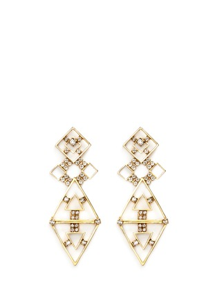 Main View - Click To Enlarge - Erickson Beamon - 'Geometry One' Swarovski crystal cutout drop earrings