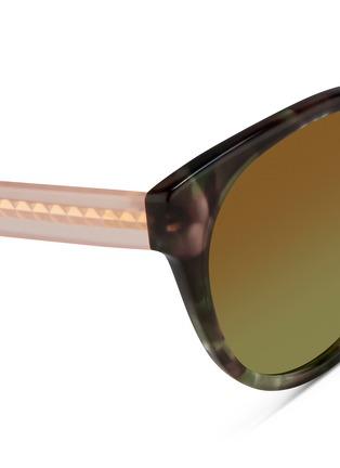 Detail View - Click To Enlarge - Matthew Williamson - Contrast temple tortoiseshell acetate cat eye mirror sunglasses