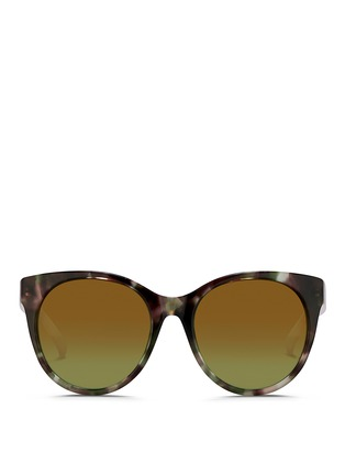 Main View - Click To Enlarge - Matthew Williamson - Contrast temple tortoiseshell acetate cat eye mirror sunglasses