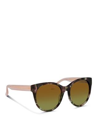 Figure View - Click To Enlarge - Matthew Williamson - Contrast temple tortoiseshell acetate cat eye mirror sunglasses
