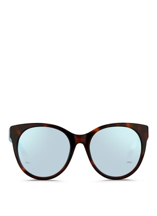 Main View - Click To Enlarge - Matthew Williamson - Contrast temple tortoiseshell acetate cat eye mirror sunglasses