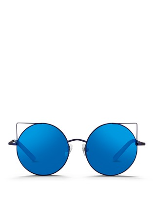 Main View - Click To Enlarge - Matthew Williamson - 'Playful' wire cat ear round mirror sunglasses