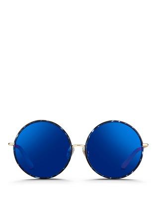 Main View - Click To Enlarge - Matthew Williamson - Contrast tortoiseshell acetate oversize round mirror sunglasses