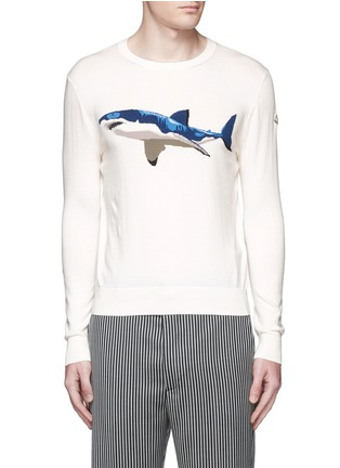 Main View - Click To Enlarge - Moncler - Shark intarsia cotton sweater