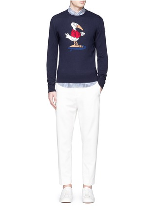 Figure View - Click To Enlarge - Moncler - Gallic bird cotton-cashmere sweater