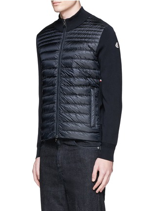 Front View - Click To Enlarge - Moncler - Quilted down front side stripe zip cardigan
