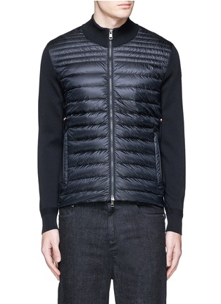 Main View - Click To Enlarge - Moncler - Quilted down front side stripe zip cardigan