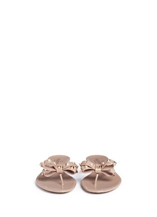 Front View - Click To Enlarge - Valentino - 'Rockstud' bow flat jelly sandals