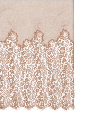 Detail View - Click To Enlarge - VALENTINO - Metallic floral guipure lace cashmere-silk scarf