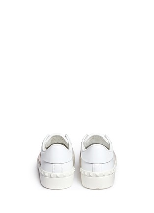 Back View - Click To Enlarge - Valentino - 'Rockstud' metallic band low top sneakers