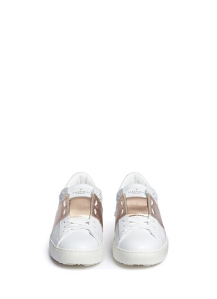 Front View - Click To Enlarge - Valentino - 'Rockstud' metallic band low top sneakers