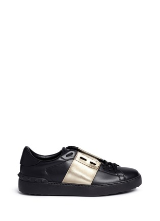 Main View - Click To Enlarge - Valentino - Metallic colourblock leather stud sneakers
