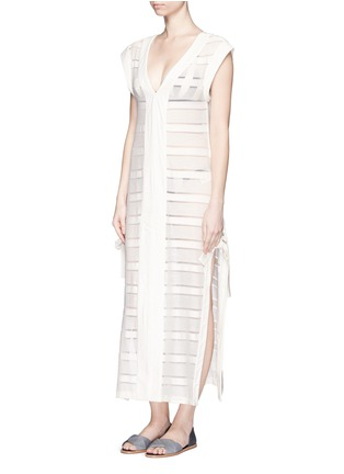Figure View - Click To Enlarge - Solid & Striped - 'The Long V' sheer stripe knit pullover dress