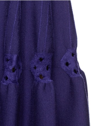 Detail View - Click To Enlarge - Alaïa - 'Rosace' velour embroidery knit flared dress