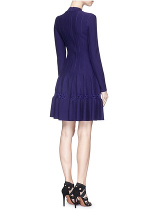Back View - Click To Enlarge - AZZEDINE ALAÏA - 'Rosace' velour embroidery knit flared dress