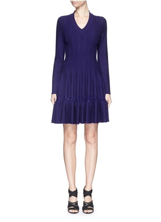 Main View - Click To Enlarge - AZZEDINE ALAÏA - 'Rosace' velour embroidery knit flared dress