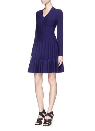 Figure View - Click To Enlarge - Alaïa - 'Rosace' velour embroidery knit flared dress