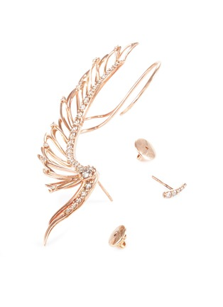 Detail View - Click To Enlarge - Cristinaortiz - Diamond 9k rose gold mismatched wing ear cuff