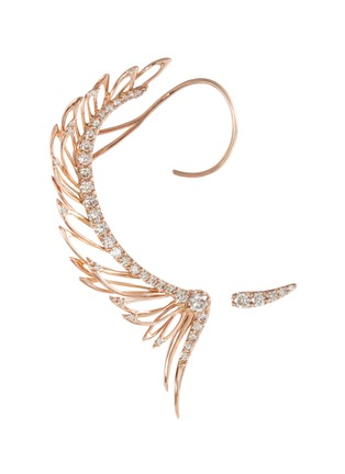 Main View - Click To Enlarge - Cristinaortiz - Diamond 9k rose gold mismatched wing ear cuff